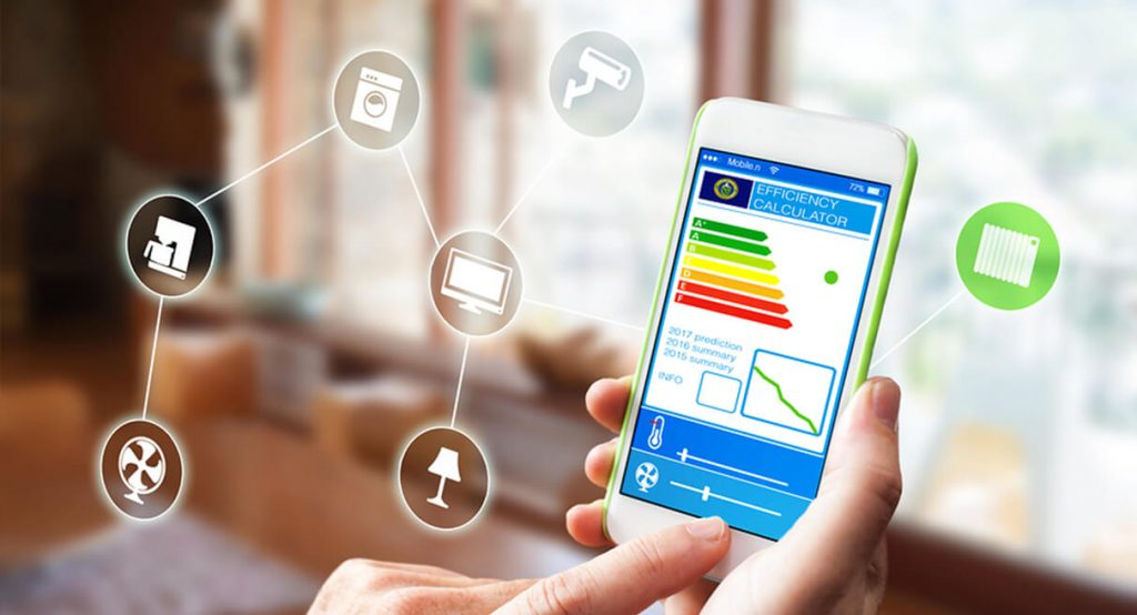 person using smart home app on phone